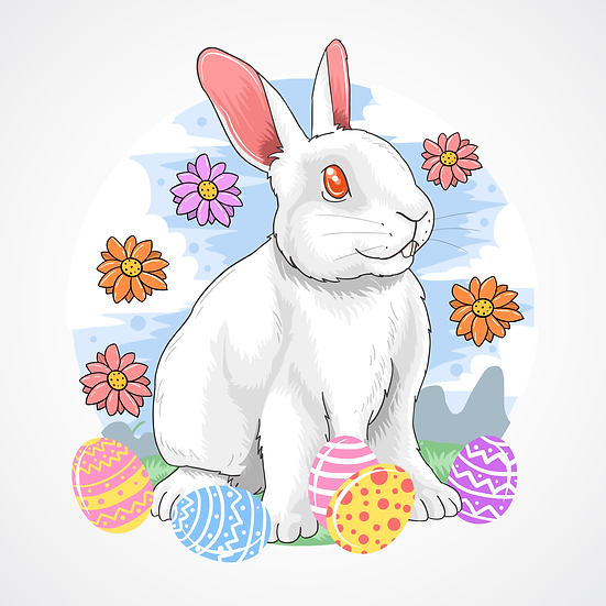 Charming Easter Bunny Greeting Card - PNG Transparent Image - Instant Download