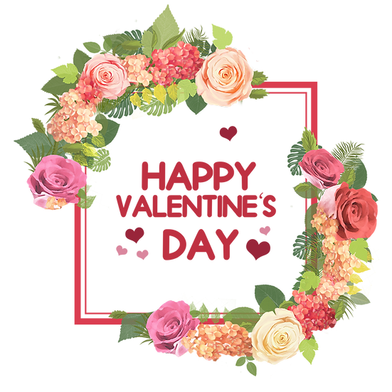 Valentine's Day Greeting Card with Roses PNG Transparent Image, Instant Download