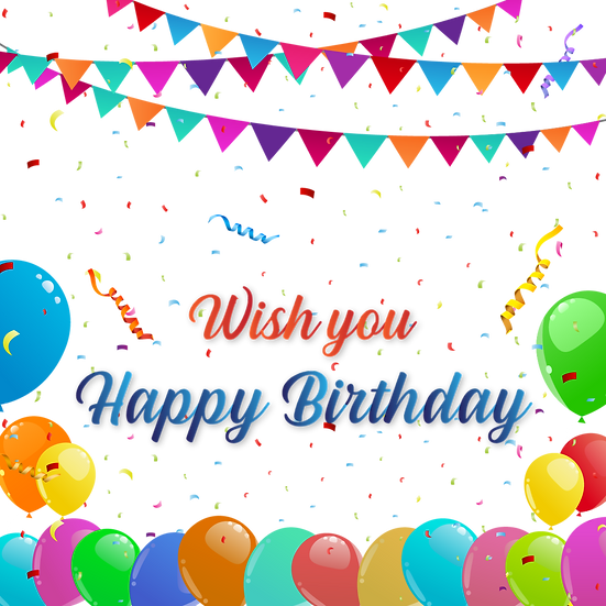 Wish You Happy Birthday Greeting Card - PNG Transparent Image - Digital Download