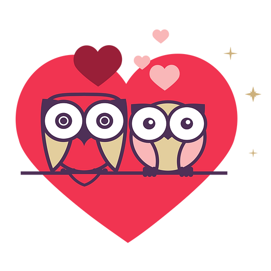 Owls in Love - Valentine's Day PNG Transparent Image - Instant Download