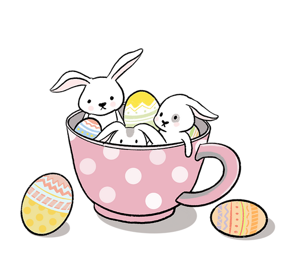 Bunnies with Easter Eggs in the Cup - PNG Transparent Image - Instant Download