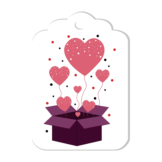 Label with Hearts in a Box - Free PNG Images, Transparent Image Instant Download