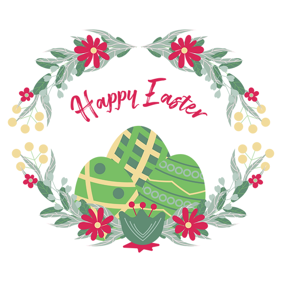 Happy Easter Magnificent Greeting Card - Transparent Image - Instant Download
