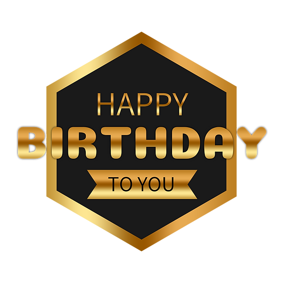 Golden Birthday Greeting Card - PNG Transparent Image - Digital Download