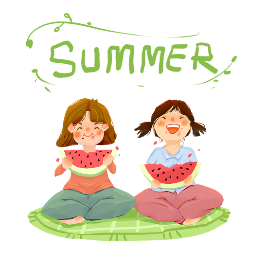 Girls Eating Watermelons - Free PNG Images, Transparent Image Instant Download