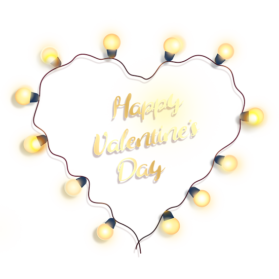 Happy Valentine's Day Greeting Card with Lights PNG Image - Instant Download