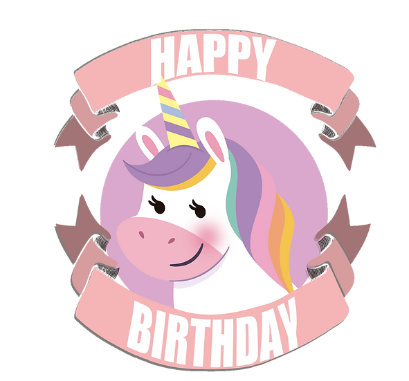 Happy Birthday Unicorn Clipart - PNG Transparent Image - Digital Download