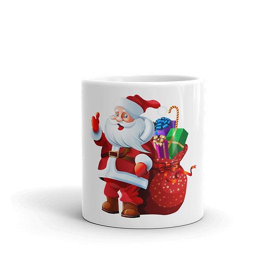Santa Claus with Presents Mug for Coffee / Tea, White Ceramic