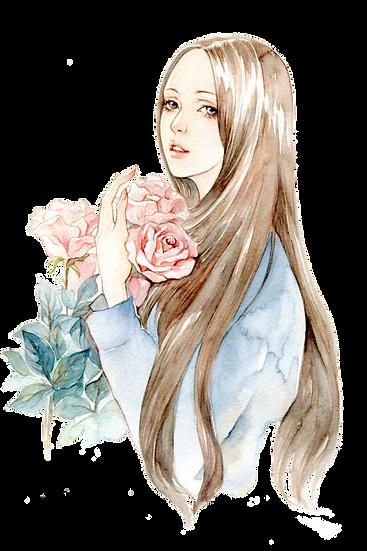 Beautiful Girl Watercolor Art Free PNG Images - Free Digital Image Download