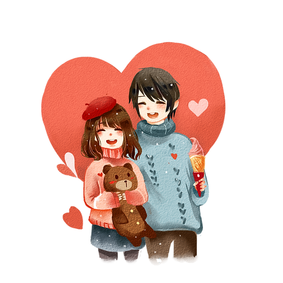 Happy Couple on a Date - Valentine's Day PNG Transparent Image, Instant Download