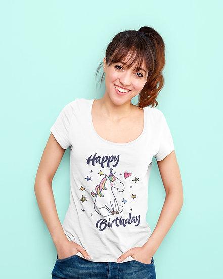 Happy Birthday Party Unicorn Design Short-Sleeve Women's T-Shirt