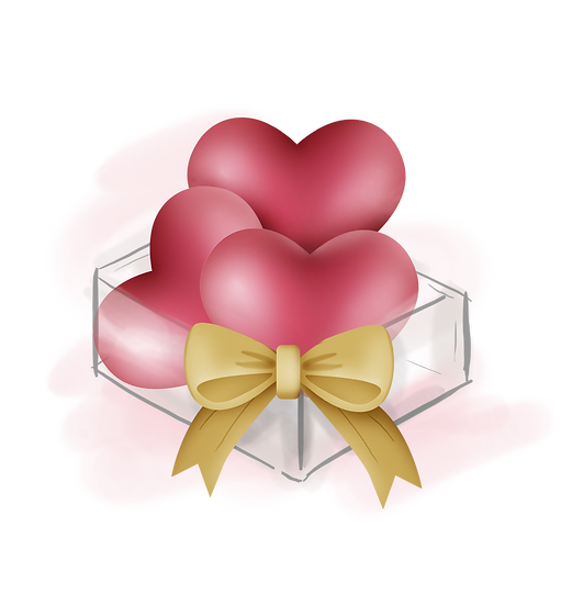 Three Hearts with Bow - Free PNG Images, Transparent Image Digital Download