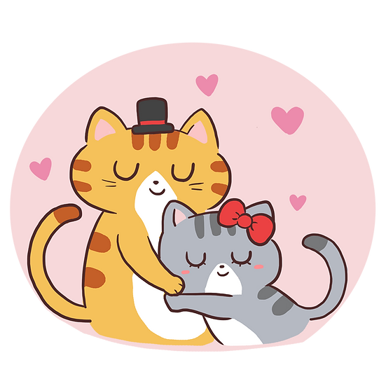 Cats In Love - Valentine's Day PNG Transparent Image - Instant Download