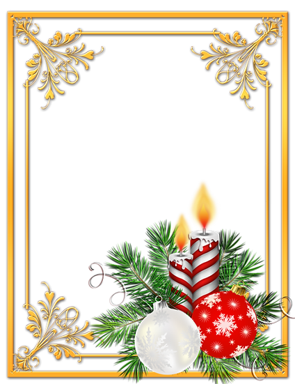 Christmas Frame with Candles Free PNG Images - Free Digital Image Download