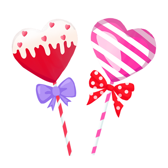 Cute Heart-Shaped Lollipops - Free PNG Image, Transparent Image Instant Download