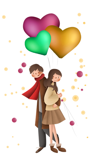 Couple with Balloons - Valentine's Day PNG Transparent Image - Instant Download