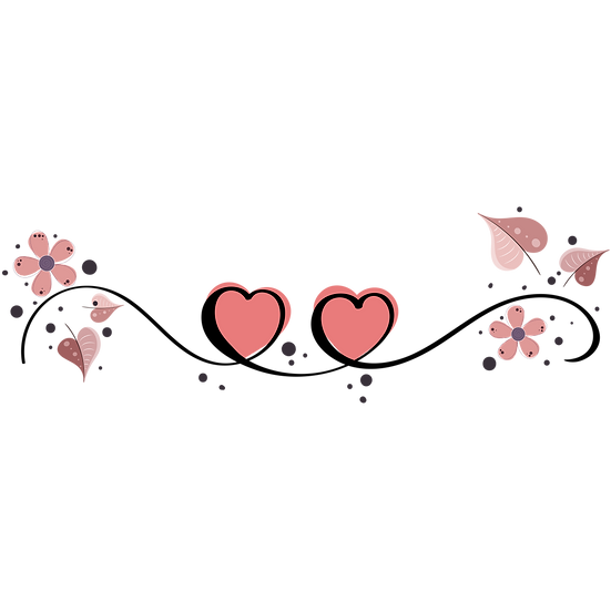 Two Hearts Clipart - Valentine's Day PNG Transparent Image - Instant Download