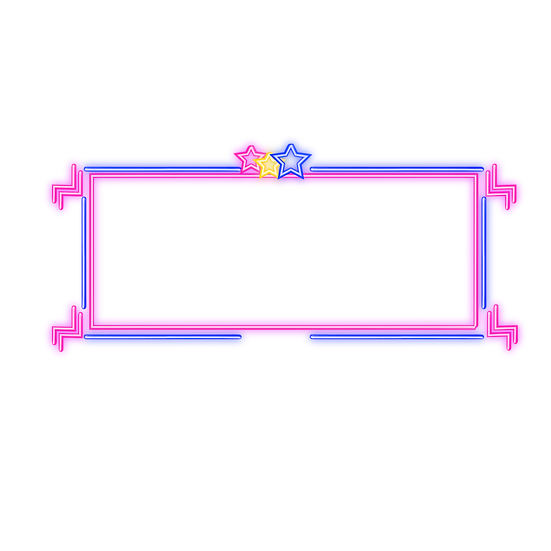 Neon Glowing Border with Stars - Free PNG Transparent Image,Instant Download