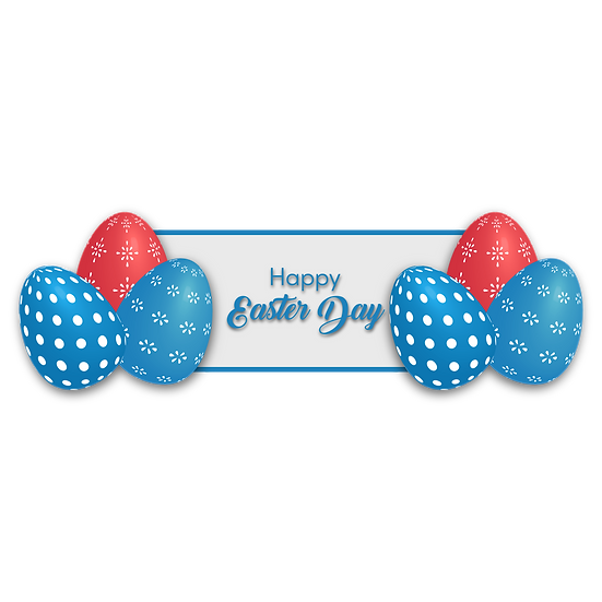 Happy Easter Day Clipart with Easter Eggs - Transparent Image - Instant Download