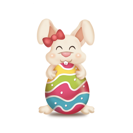 Cute Bunny with Bow Hugging Easter Egg - PNG Image - Instant Download