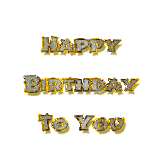 Happy Birthday Silver & Gold PNG Transparent Image - Digital Instant Download