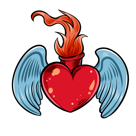 Burning Heart with Wings - Free PNG Images, Transparent Image Digital Download