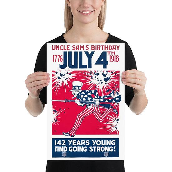 WW1 American Uncle Sam Propaganda Poster. WWI 1918 year Memorabilia Print1