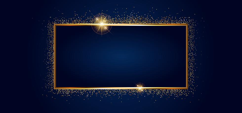 Golden Frame on Dark Blue Background - Free PNG Image, Instant Download