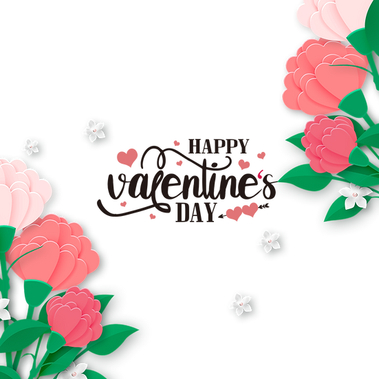 Happy Valentine's Day Flowery Greeting Card - PNG Image - Instant Download