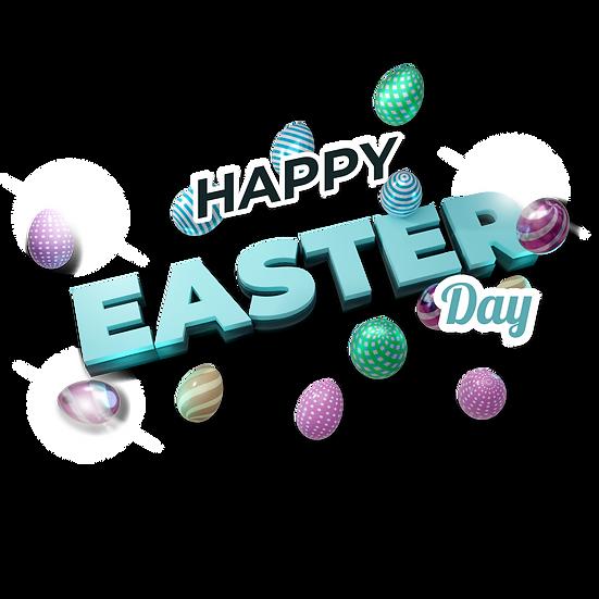 Happy Easter Day 3D Inscription - PNG Transparent Image - Instant Download