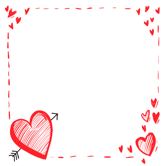 Lovely Frame with Hearts - Free PNG Images, Transparent Image Digital Download
