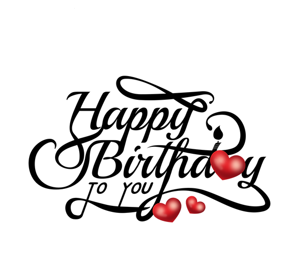 Birthday Inscription with Hearts - PNG Transparent Image - Digital Download