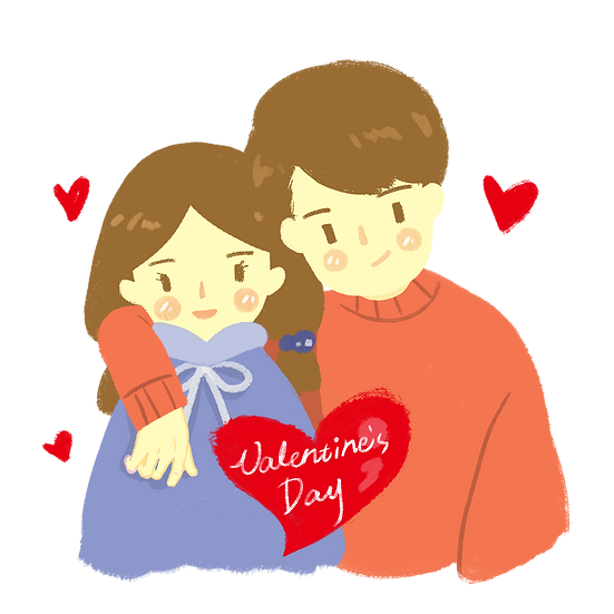 Lovable Couple on Valentine's Day - PNG Transparent Image - Instant Download