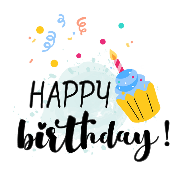Birthday Clipart with Cupcake - PNG Transparent Image - Digital Download