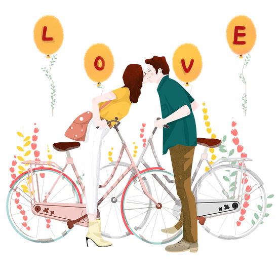 Kissing Couple Sitting on the Bikes, Valentine's Day PNG Image, Instant Download