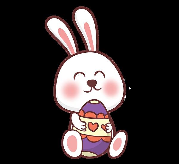 Easter Bunny Hugging Egg - Easter PNG Transparent Image - Instant Download