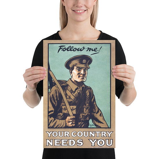 WW1 Great War British Recruiting Propaganda Poster. WWI Recruitment Print, 1914