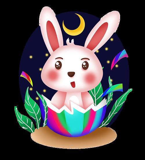 Surprised Easter Bunny Clipart - PNG Transparent Image - Instant Download