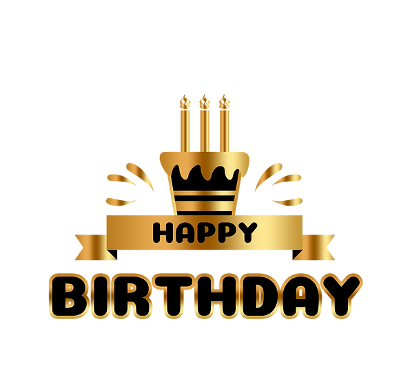 Happy Birthday Gold Clipart - Birthday PNG Transparent Image - Digital Download
