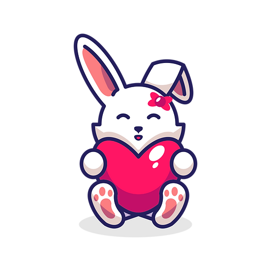 Adorable Bunny with Heart - Free PNG Images, Transparent Image Instant Download