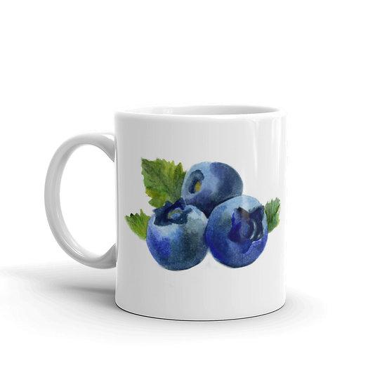 Watercolor Bilberry Coffee Cup Mug for Coffee / Tea White Ceramic Mugs1