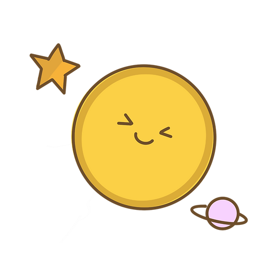 Smiling Moon with Planet and Star - Free PNG Transparent Image, Digital Download