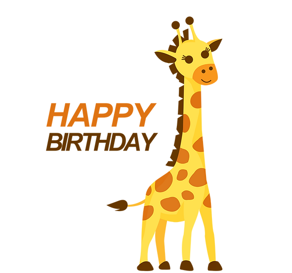Birthday Clipart with Giraffe - PNG Transparent Image - Digital Download