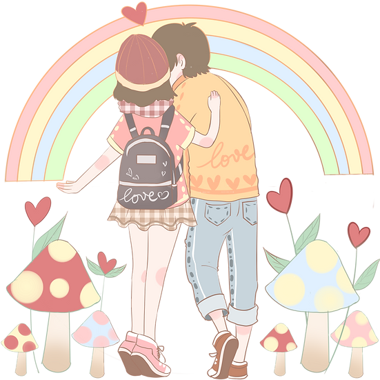 Cute Young Couple - Valentine's Day PNG Transparent Image - Instant Download