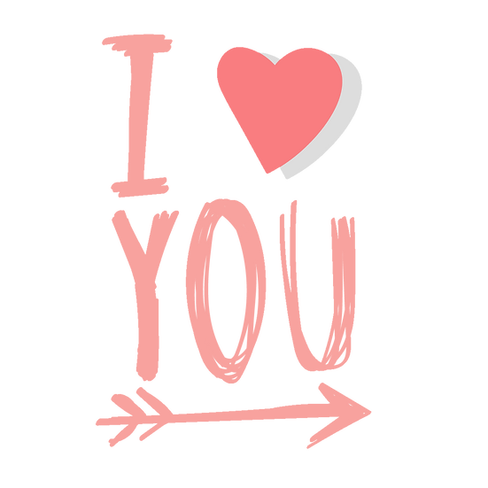 I Love You Clipart - Valentine's Day PNG Transparent Image - Instant Download