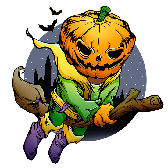 Halloween Pumpkin Witch Printables PNG Image  - Editable / Downloadable