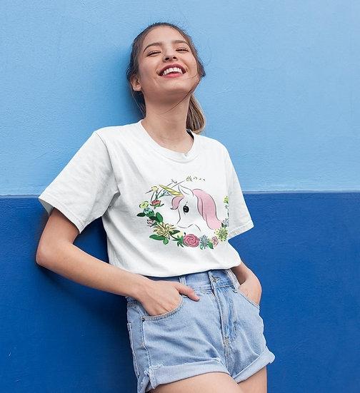 Pink Unicorn with Flowers Design Short-Sleeve Women's T-Shirt