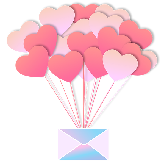 Letter with Heart-Shaped Balloons - Free PNG Transparent Image, Digital Download