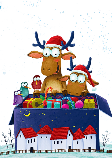 Deer Opening the Xmas Presents Free PNG Images - Free Digital Image Download
