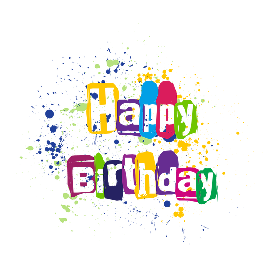 Happy Birthday Colored Clipart - PNG Transparent Image - Digital Download